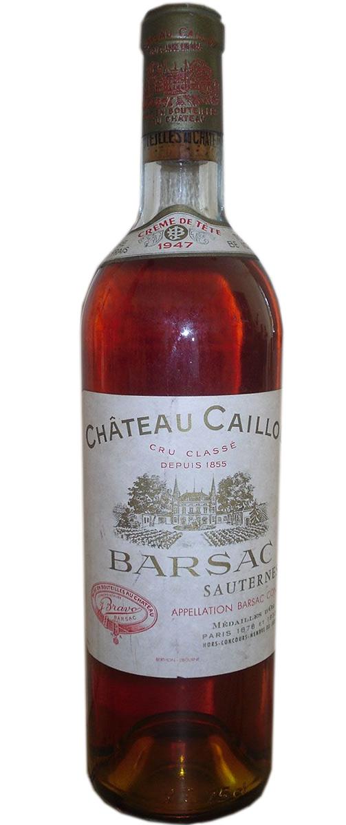 """Chateau Caillou Barsac Sauternes """"Creme de Tete"""" 1947"""