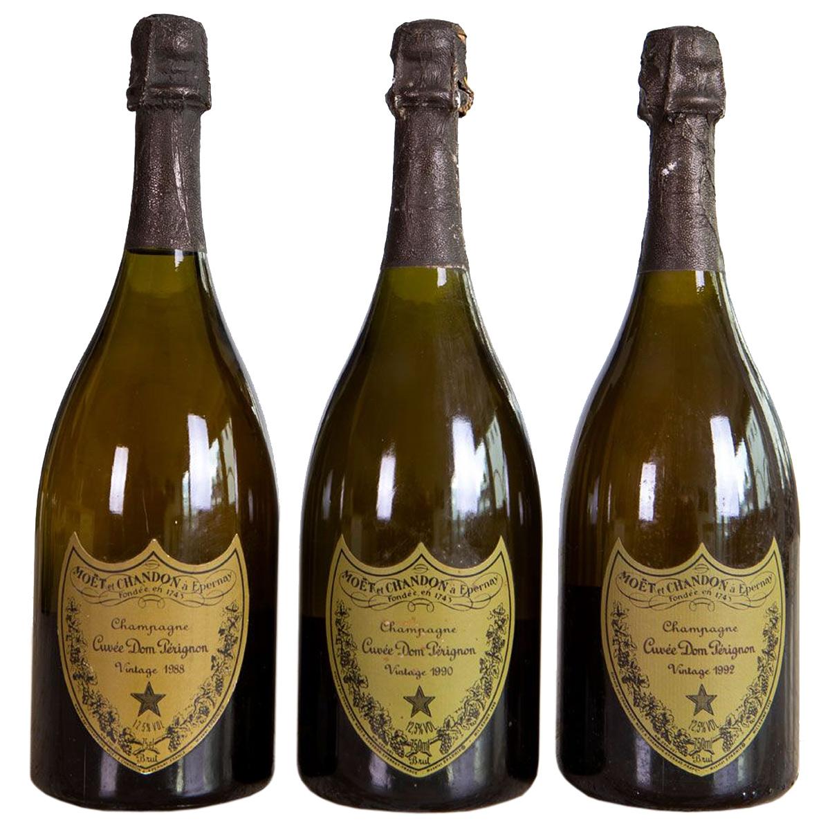 Champagne Dom Perignon Vertikale 1988 - 1990 - 1992